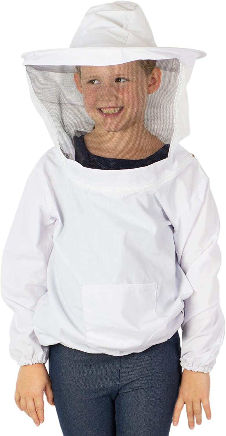 Full Body Beekeeping Suits Cotton+polyester Anti-bee Coat Veil Hood L-Size White