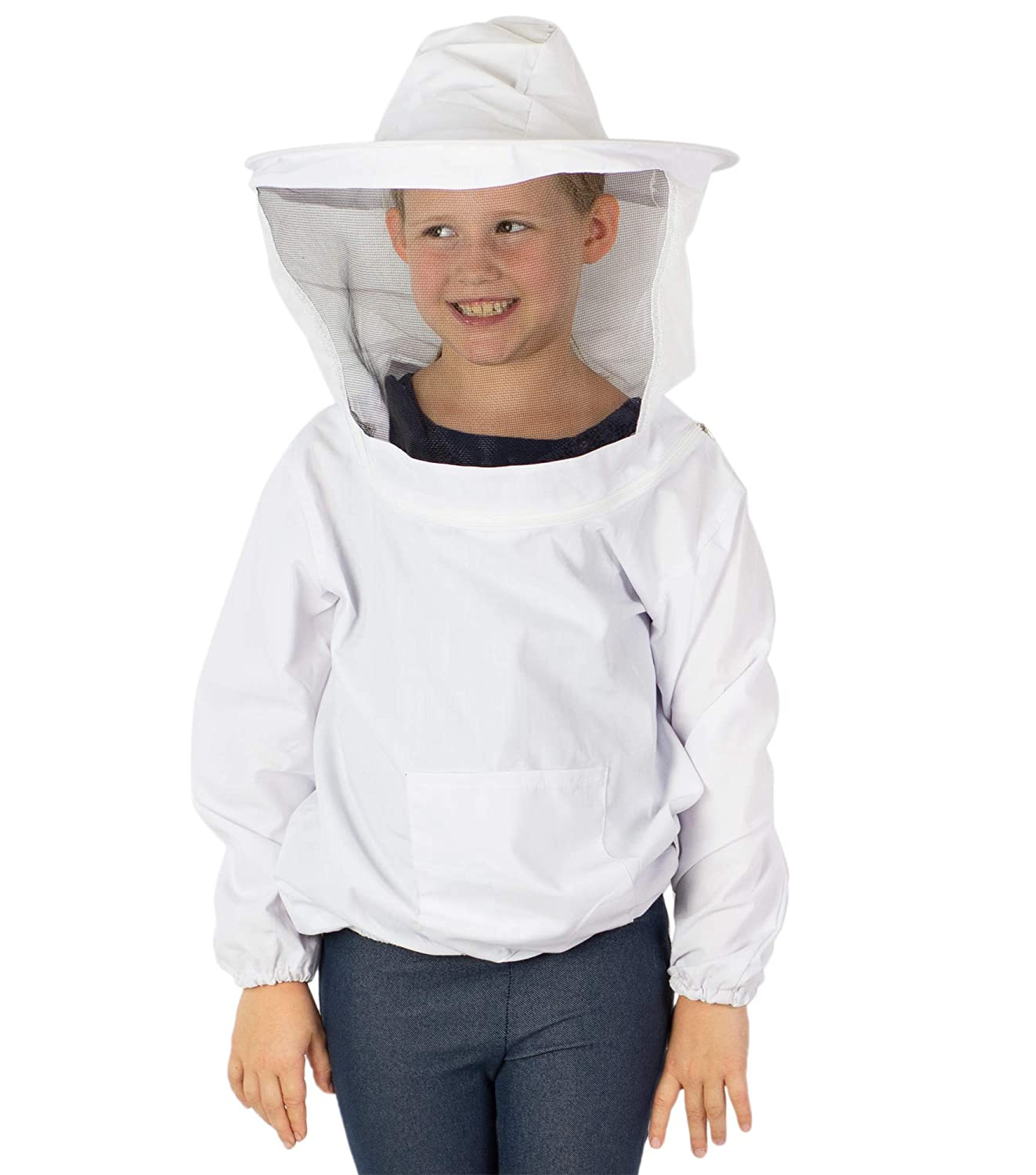VIVO White Beekeeping Youth Sized Bee Keeping Suit, Jacket, Pull Over, Smock with Veil (BEE-V105Y)