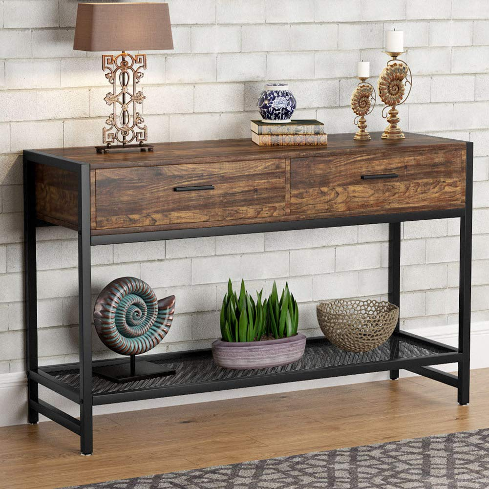 Marvelous Details About Tribesigns 47 Inch Rustic Sofa Console Table With 2 Large Drawers Entry Table Pabps2019 Chair Design Images Pabps2019Com