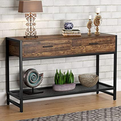 Tribesigns Console Table with 2 Drawers, 47 inch Rustic Sofa Entry Table TV  Stand Entertainment Center with Storage Shelves for Living Room, Entryway,  ...