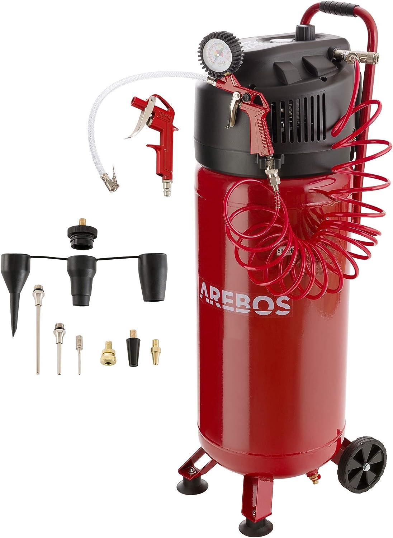 Arebos - Compresor de aire a presión (50 L, 1500 W, sin aceite, 10 bar, 97 dbA, incluye Juego de accesorios de 13 piezas, conexión en Y y de pie.