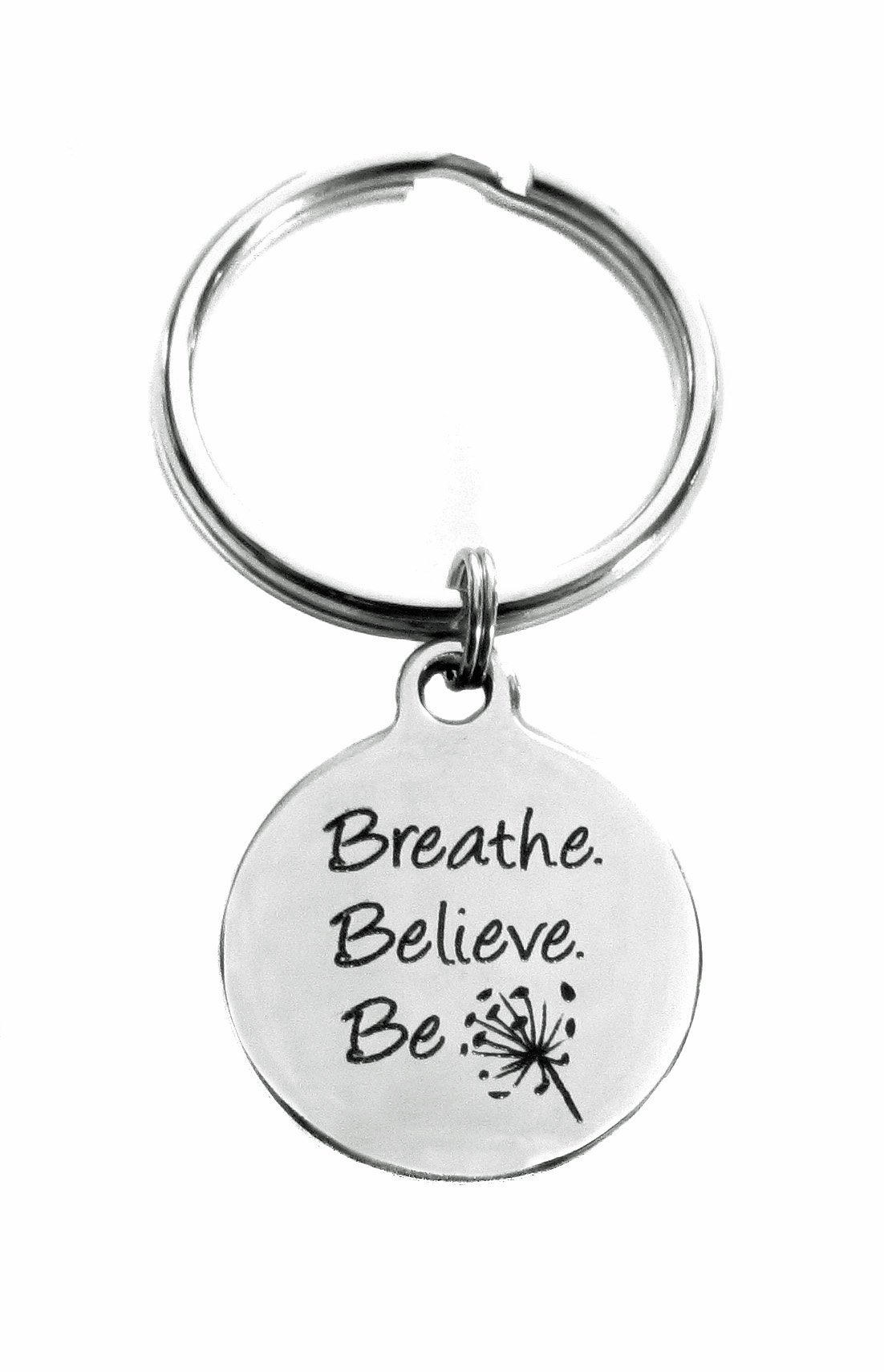 Breathe Believe Be Stainless Steel Keychain, Inspirational Meditation Gift