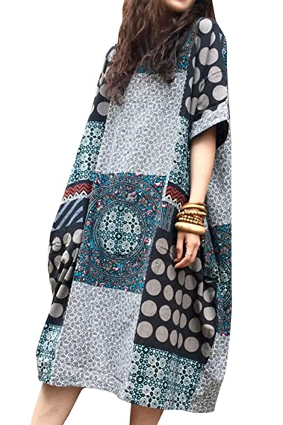 341c3252af ASHER FASHION Women Summer Round Neckline Cotton Loose House Dress with  Pockets (Style 1)