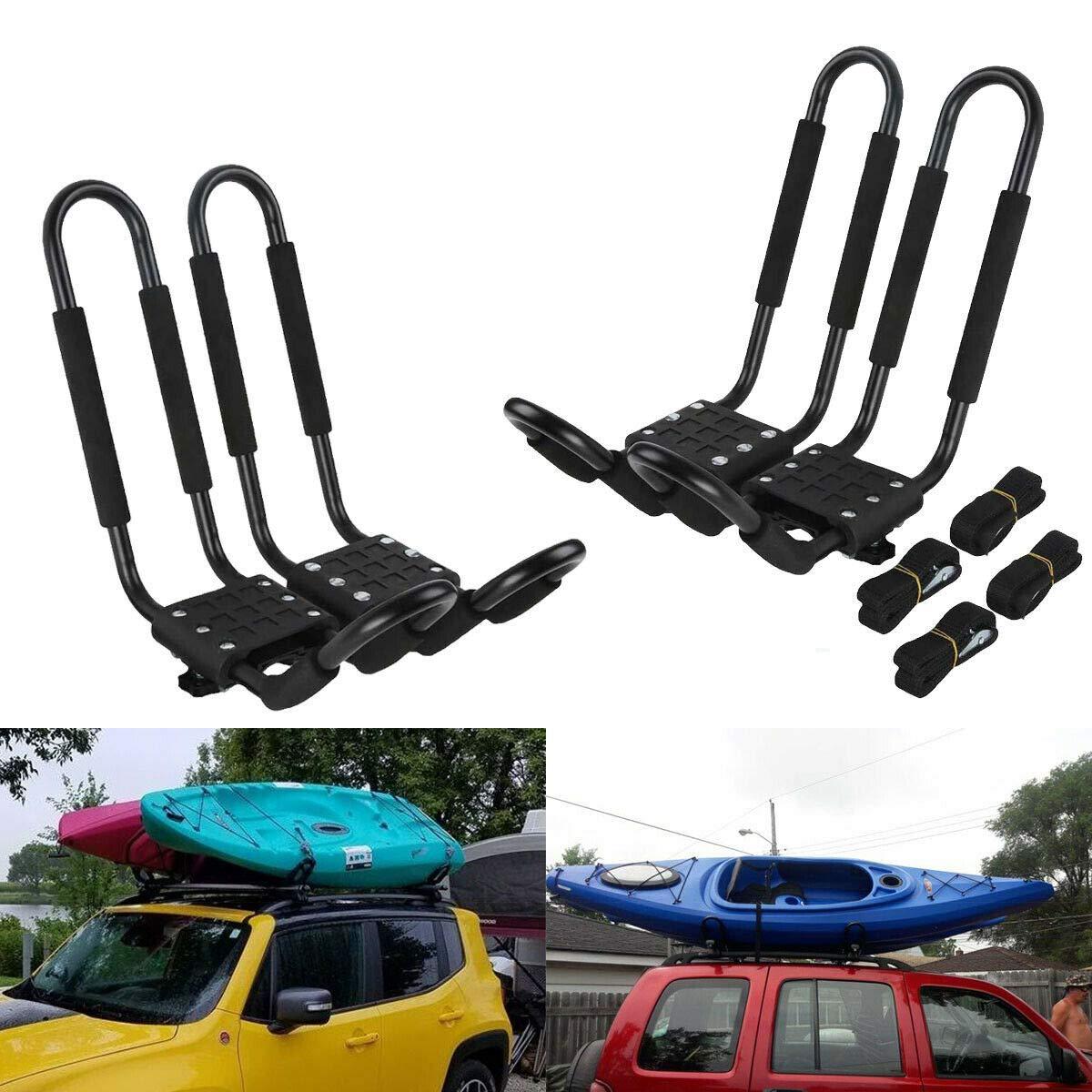 Tengchang 2 Pairs Universal Roof J-Bar Kayak Rack, Boat Canoe Car SUV Top Mounted Kayak Carrier