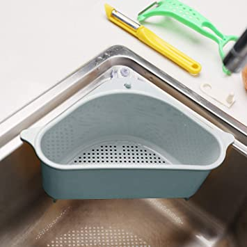 Triangle Sink Shelf Soap Sponge Drain Rack Home Kitchen Storage Holder Sucker US
