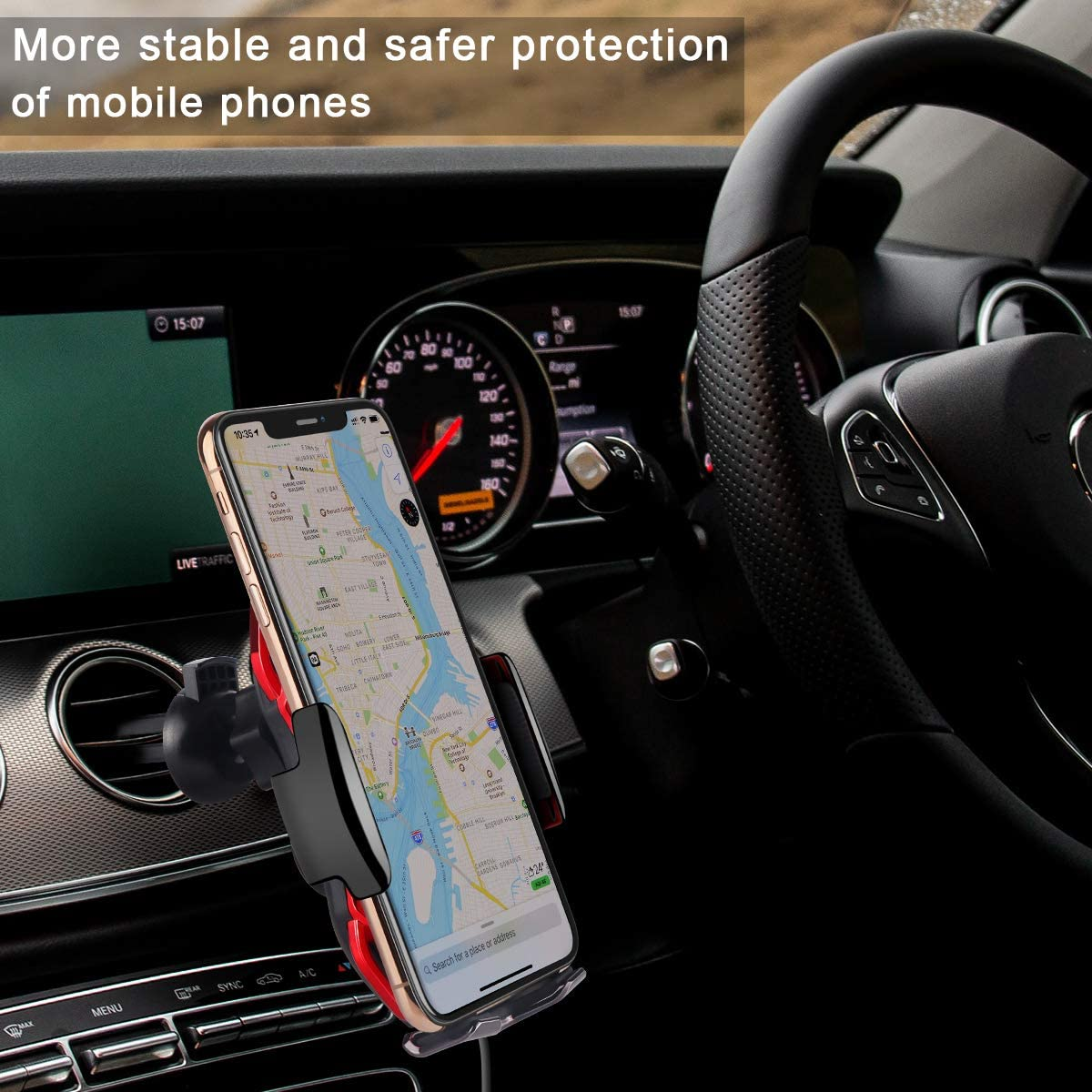 Wireless Charger Car Touch Sensing Automatic Retractable Clip Fast Charging Compatible for iPhone Xs Max//XR//X//8//8Plus Samsung S9//S8//Note 8