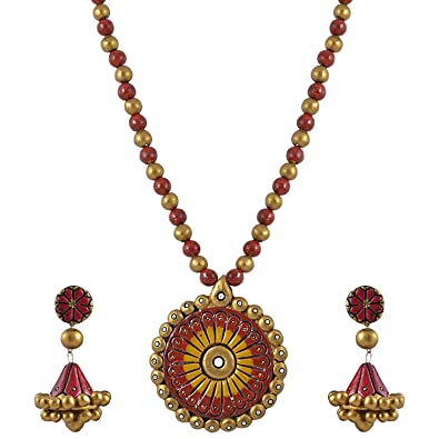 Avarna Terracotta Necklace Set Nsa0016 For Women (Multi-Color ) Necklaces at amazon