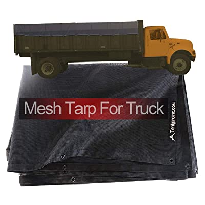 Tentproinc Truck Mesh Tarp 8' X 18' - Black Heavy Duty Cover Reinforced Double Needle Stitch Webbing Ripping and Tearing Stop, No Rust Thicker Brass Grommets - 3 Years Limited Warranty: Automotive