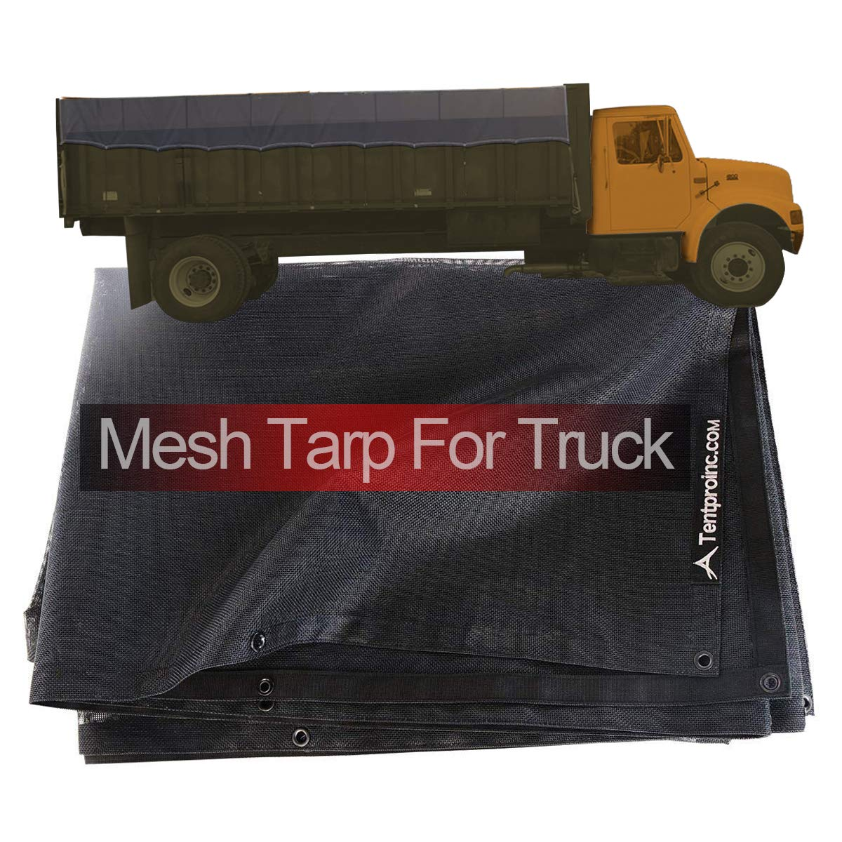 Truck Mesh Tarp 8'X18' (Black) Tentproinc Heavy Duty Cover Top Quality Reinforced Double Needle Stitch Webbing Ripping and Tearing Stop, No Rust Thicker Brass Grommets - 3 Years Limited Warranty by Tentproinc