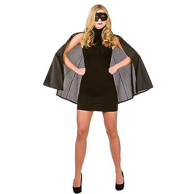 New Black Satin Superhero Cape & Mask - Adult Accessory Adult - One Size