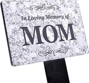 OriginDesigned in Loving Memory of MOM Memorial - Granite Stone Effect Plaque Stake, Grave Marker, Garden, Outdoor, Decorative Tribute