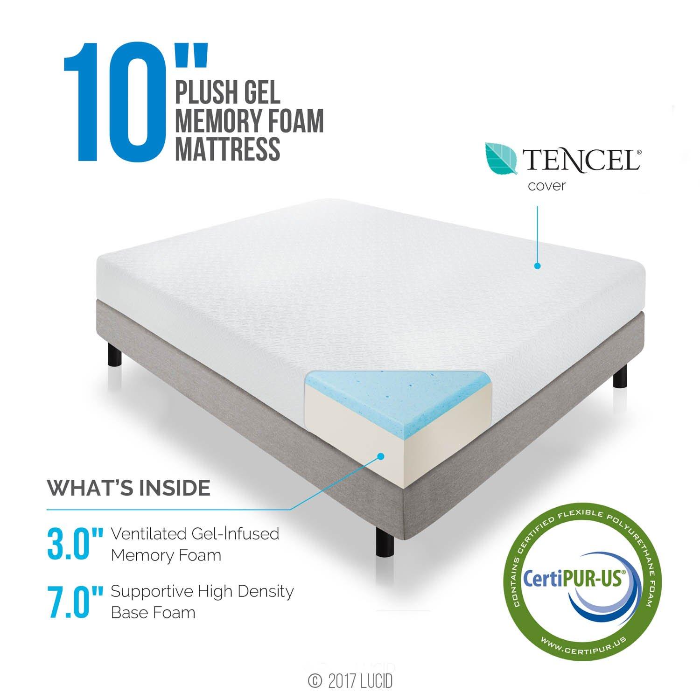 Amazon LUCID 10 Inch Gel Infused Memory Foam Mattress