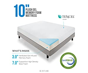 LUCID 10 Inch Gel Infused Memory Foam Mattress