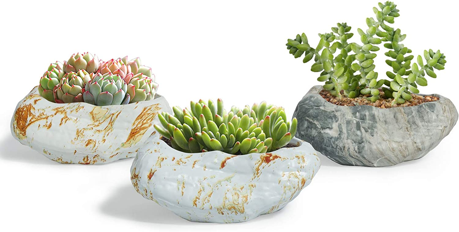 Set of 1970/'s Green and Brown Marbled Planters