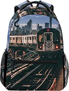 ALAZA 7 Train Queens New York City NYC Large Backpack Personalized Laptop iPad Tablet Travel School Bag with Multiple Pockets for Men Women College
