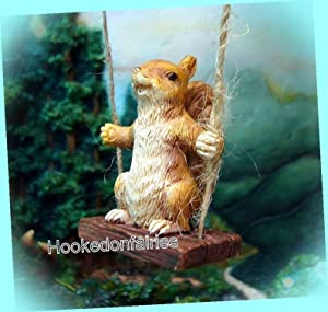 New Fairy Garden Miniature Swinging Squirrel Swing Fairy Garden Miniature Garden Dollhouse Magic Scene Supplies Accessories Dia-#0197N