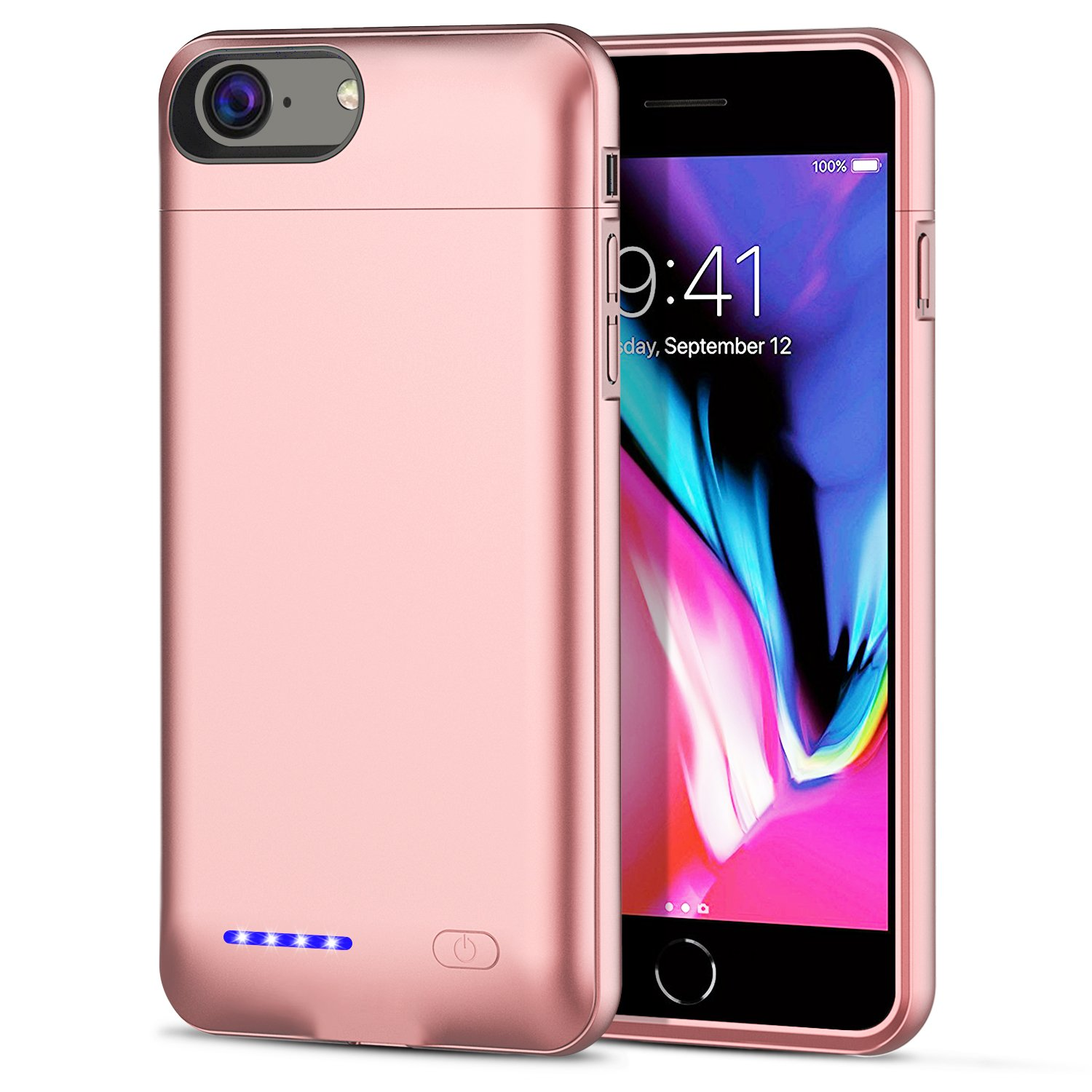 [Upgrade] iPhone 8/7/6S/6 Battery Case, SUNWELL 3000mAh High Capacity Ultra Slim External Charger Case for iPhone 8/7/6/6S with Extra 110% Battery Life (4.7'' Rose Gold)