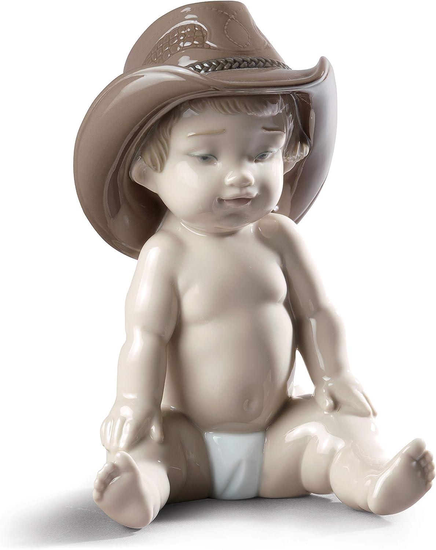 LLADRÓ Boy with Cowboy Hat Figurine. Porcelain Baby Figure.