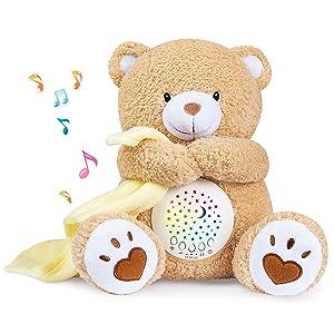 BEREST Baby Sleep Soother Happy Bear, Mom's Heartbeat Bear Lullabies & Shusher White Noise Machine, Nursery Decor Night Light Projector, Toddler Crib Sleeping Aid, Baby Shower Gifts Portable Teddy