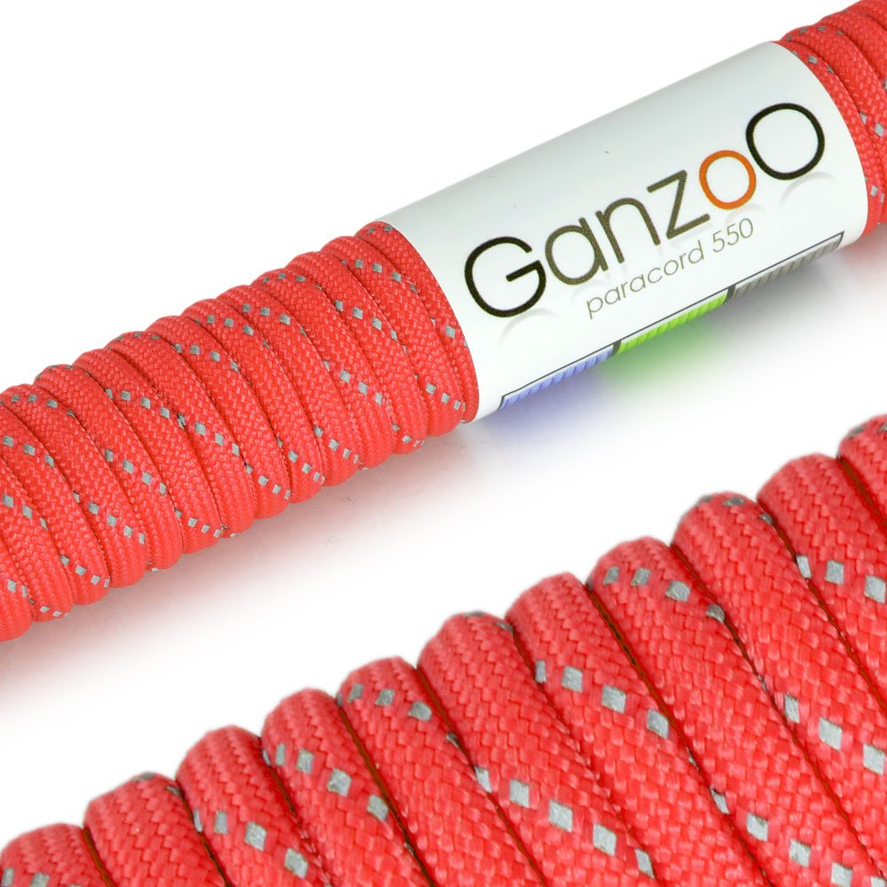 Ganzoo 'Reflective Universal Survival Rope Made of tear-resistant Parachute Cord/Paracord 550Core Rope Nylon, 550lbs, Total Length 31Meters (100ft)