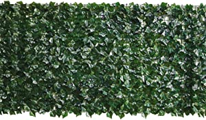 zimo Artificial Faux Ivy Hedge Leaf and Vine Privacy Fence Wall Screen Privacy Fencing Grass Wall Panels for Outdoor,Garden, Yard Greenery Decor (39×118inch)