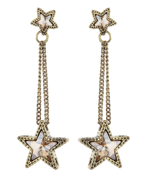 Boucles d'oreilles clips - Plaqué or avec des étoiles de cristal - Kalidas G par Bello London