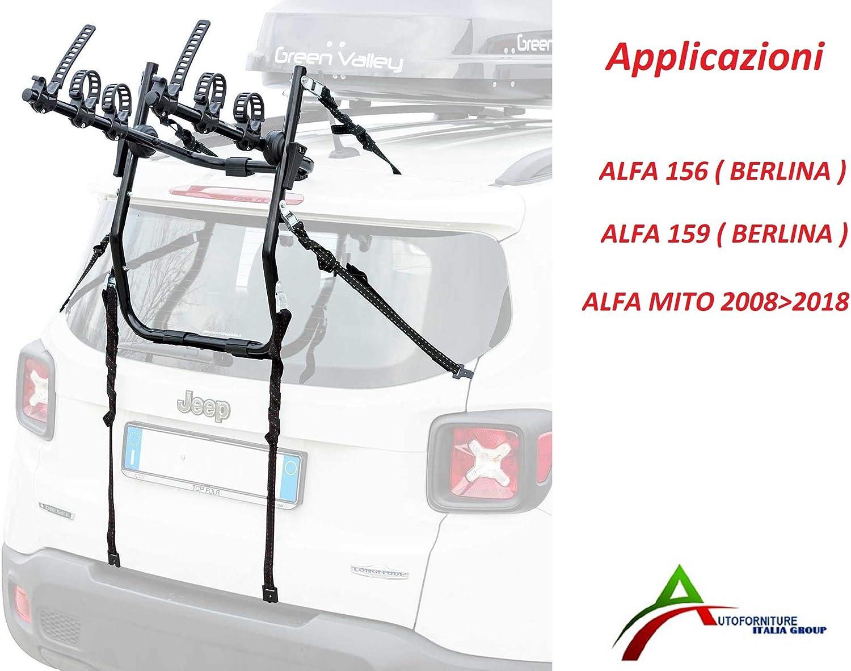 PORTABICI ASSEMBLATO E Pronto ALLUTILIZZO per PORTELLONE O Baule Posteriore per Auto SPECIFICO per 156-159 3 Bici - Mito 20082018 No Station Wagon