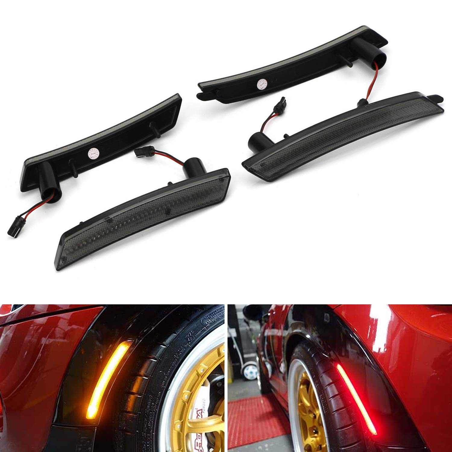 iJDMTOY Smoked Lens Amber/Red Full LED Side Marker Light Kit For 2007-2013/14 MINI Cooper R55 R56 R57 R58 R59 R60 R61, Powered by Total 160-SMD LED, Replace OEM Sidemarker Lamps iJDMTOY Auto Accessories Change Left/Right Original Lamp Assembly