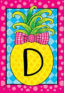 "Briarwood Lane Pineapple Monogram Letter D Garden Flag Everyday 12.5"" x 18"""