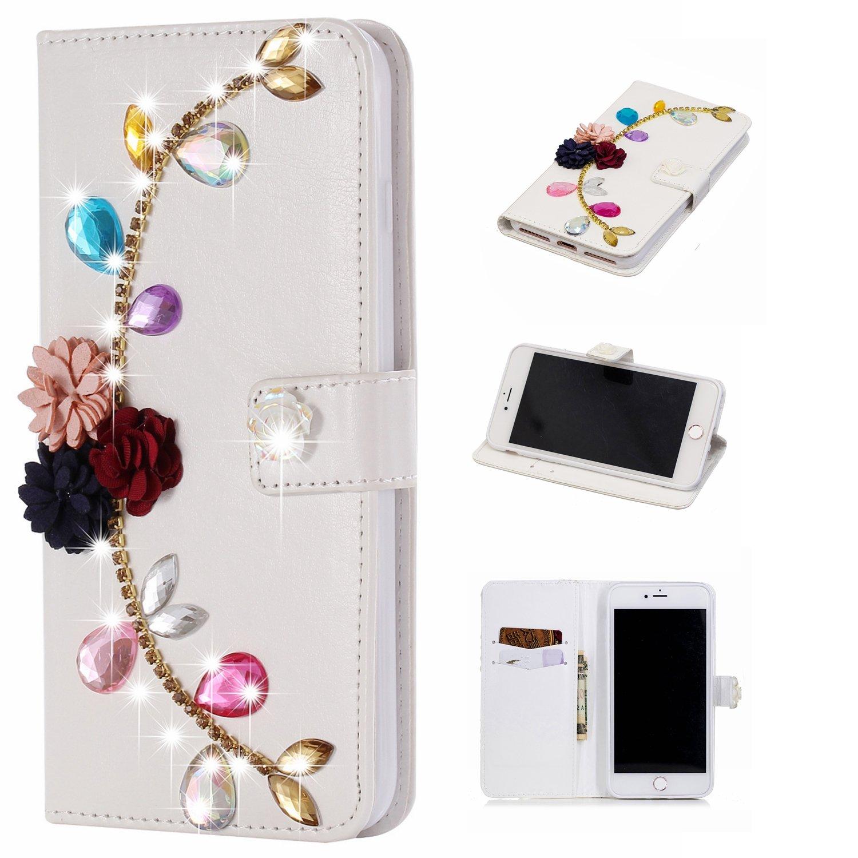 GOStyle Iphone 7 plusキラキラ光るダイヤモンド財布ケース、iPhone 8 Plusハンドメイド3d Shiny GlitterクリスタルラインストーンPUレザーフリップスタンドカバークレジットカードスロットマグネット開閉式  Colorful Rose Flower B07DNXPWQC