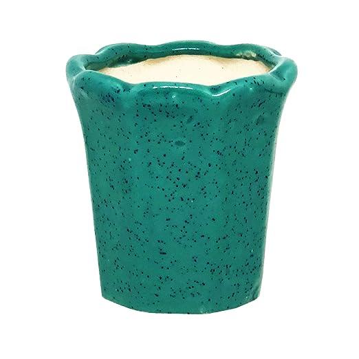 ShopMeFast Flower Shape Handcrafted Ceramic Pots Ceramic Planter for Indoor Plants/Planters,Home Decor,Garden Decor,Office Decor,Decorative Succulent Pot (Color: Green)(L:9cm, W:9 cm, H:9 cm)