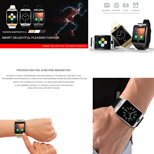Tera Apro Pulsera Reloj Inteligente GSM NFC Podómetro Selfie Control Remoto con Pantalla Táctil 1,54