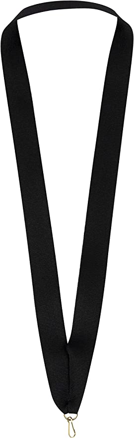 Medal Ribbon Lanyard Black and White with Gold clips GREAT VALUE 22mm wide