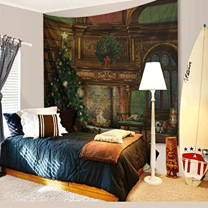 christmas decorations tapestry wall hanging by imei 3d print fabric holiday party wall art hanging - Fireplace Christmas Decorations Amazon