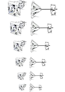 JDGEMSTONE 6 Pairs Stainless Steel Brilliant Stud Earrings Set Clear Cubic Zirconia