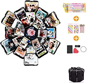 EKKONG Explosion Box, DIY Handmade Photo Album Scrapbooking,Gift Box with 6 Faces for Wedding Box, Birthday Party (Black)