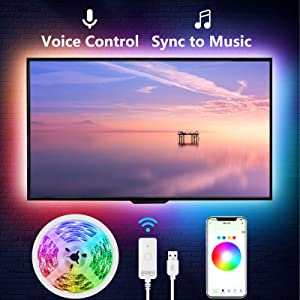 TV LED Backlights,Gosund 9.2 feet Smart LED Strip Lights Works with Alexa Google Home for 24 inch 60 inch TV,Color Changing RGB Strip Light Sync with Music Wifi APP Control USB Powered Only 2.4Ghz