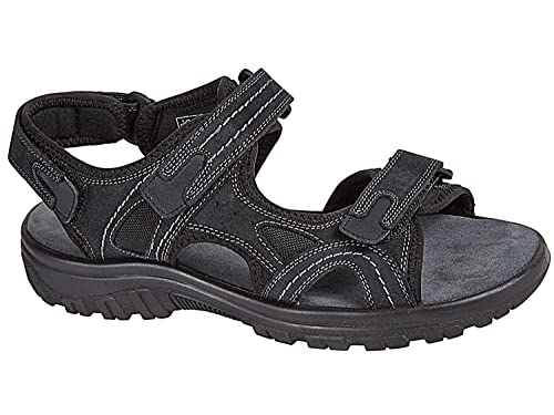 New Mens Nubuck Leather Hook and Loop Strap Sports Walking Open Toe Sandals  6 UK