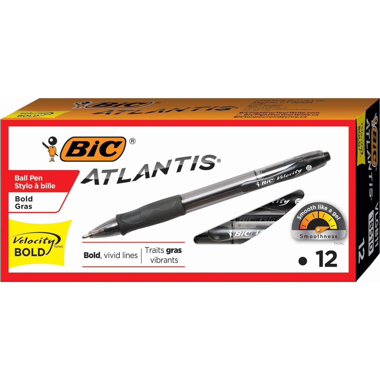 BIC VLGB11-Blk Velocity Bold Retractable Ball Pen, Bold Point (1.6mm), Black, 12-Count
