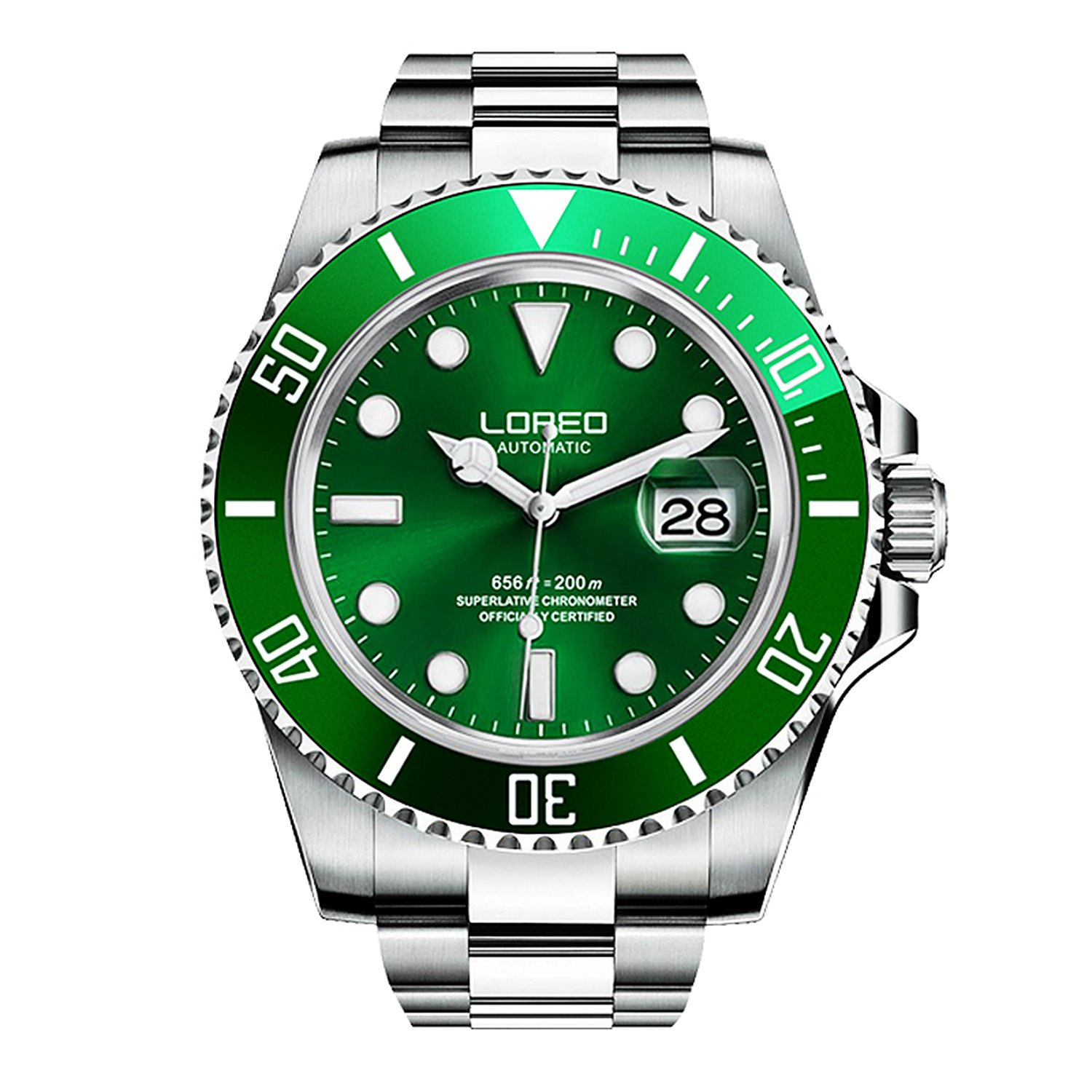 LOREO Mens GMT Silver Stainless Steel Sapphire Glass Green Rotating bezel Men's Automatic Watch by LOREO
