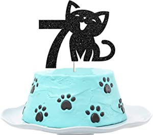 Cat Seven Cake Topper, Happy 7th Birthday Cake Decor, I'm Seven Sign, Kitty Birthday Party Decoration Supplies, Meow Sign, Pet Themed - Black Glitter