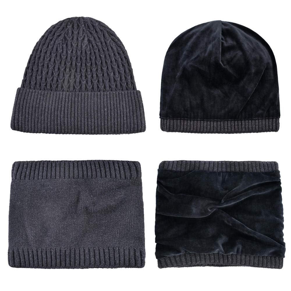 Knitted Warm Beanie Hat Set Men Women Winter Thick Knitting Hats and Scarf Solid Color Skullies Beanies Set Gorras TMA88@Gray3 Set
