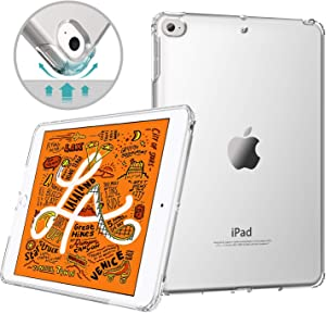 MoKo Case Fit New iPad Mini 5 2019 (5th Generation 7.9 inch) - Clear Grip Soft Flexible Transparent TPU Skin Shockproof Rubber Bumper Back Cover Protector - Clear