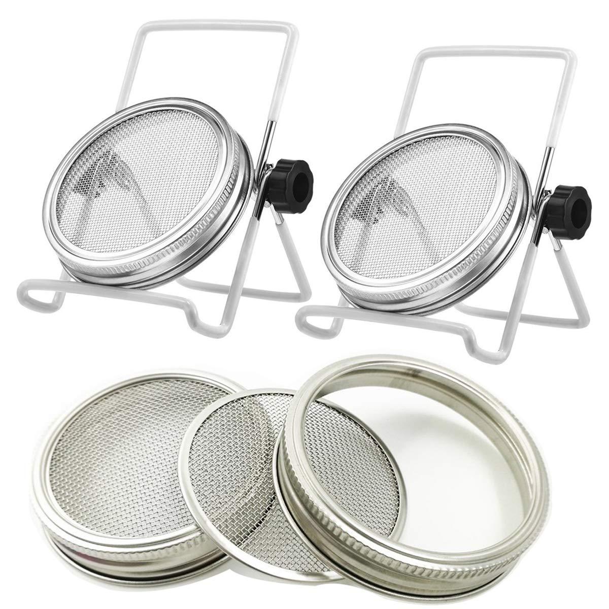 2 Pcs Stainless Steel Mason Jar Sprouting Jar Lids with 2 Pcs Stainless Steel Sprouting Stands for Wide Mouth Mason Jars Canning Jars (White) by NM
