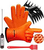 EastKing BBQ Gloves/BBQ Claws/Meat Thermometer and Silicone Brush Superior Value Premium