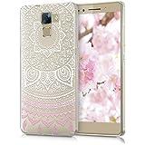 kwmobile Hülle für Huawei Honor 7 / Honor 7 Premium - TPU Silikon Backcover Case Handy Schutzhülle - Cover klar Indische Sonne Design Rosa Weiß Transparent