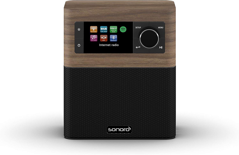 sonoro Stream Internetradio für Küche und Bad 20 (FM/DAB+, AUX,  Bluetooth, Spotify) Walnuss/Schwarz