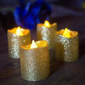 LOGUIDE 12pcs Gold Glitter Votive Candle Battery Powered Flameless LED Wedding Tealight Candle Xmas Christmas Celebrate Party Celebration