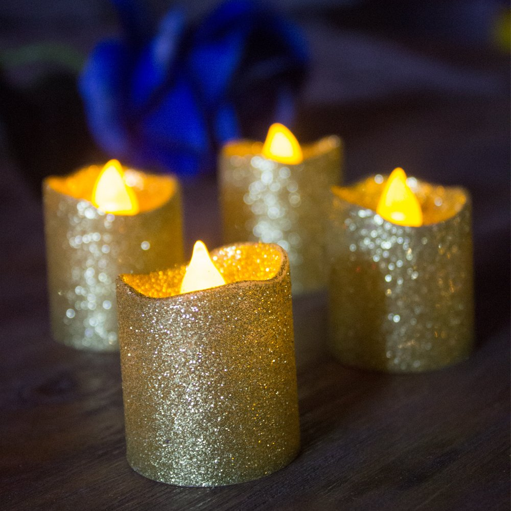 LOGUIDE Gold Glitter LED Votive Candles Flameless Tealight Battery Powered Candles For Wedding Christmas Party Celebration 12pcs