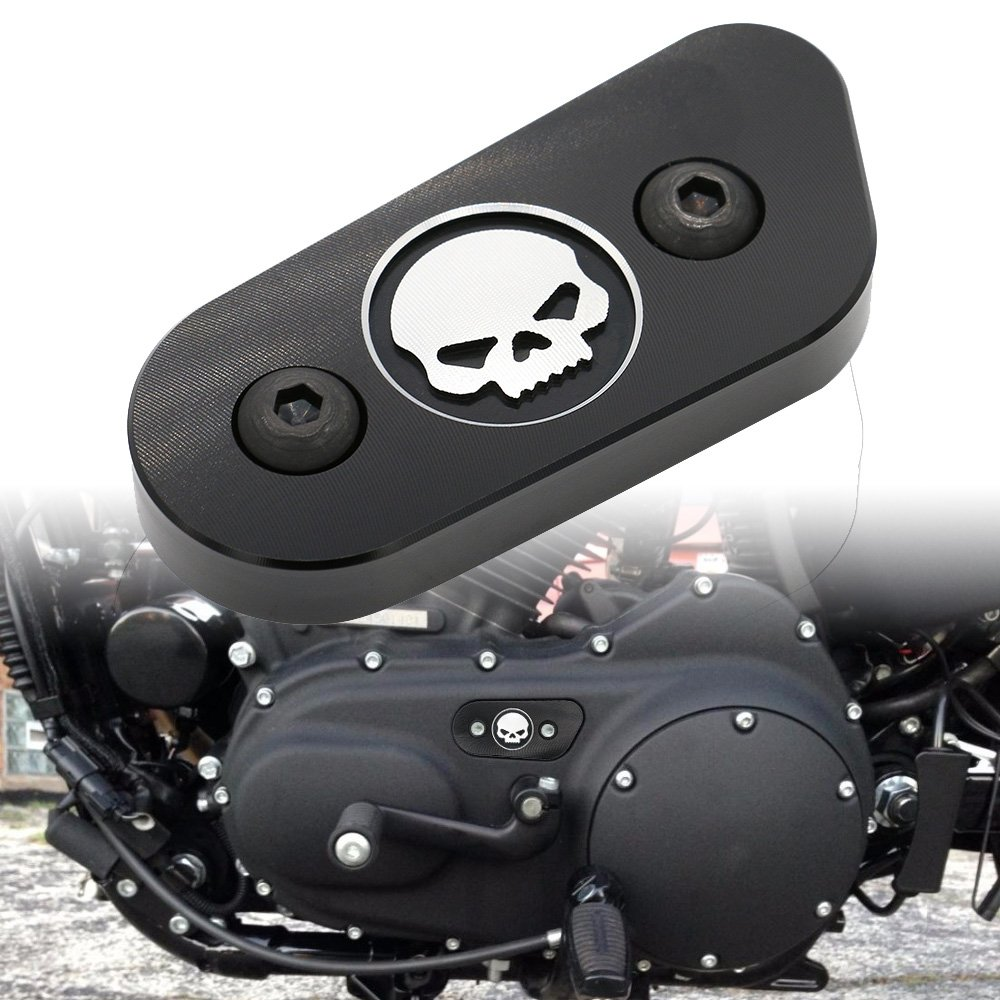 Motorcycle CNC Chain Inspection Cover Guard Chrome Skull Protect For Harley Davidson Sportster XL 883 1200 2014 2015 2016 Black Frenshion